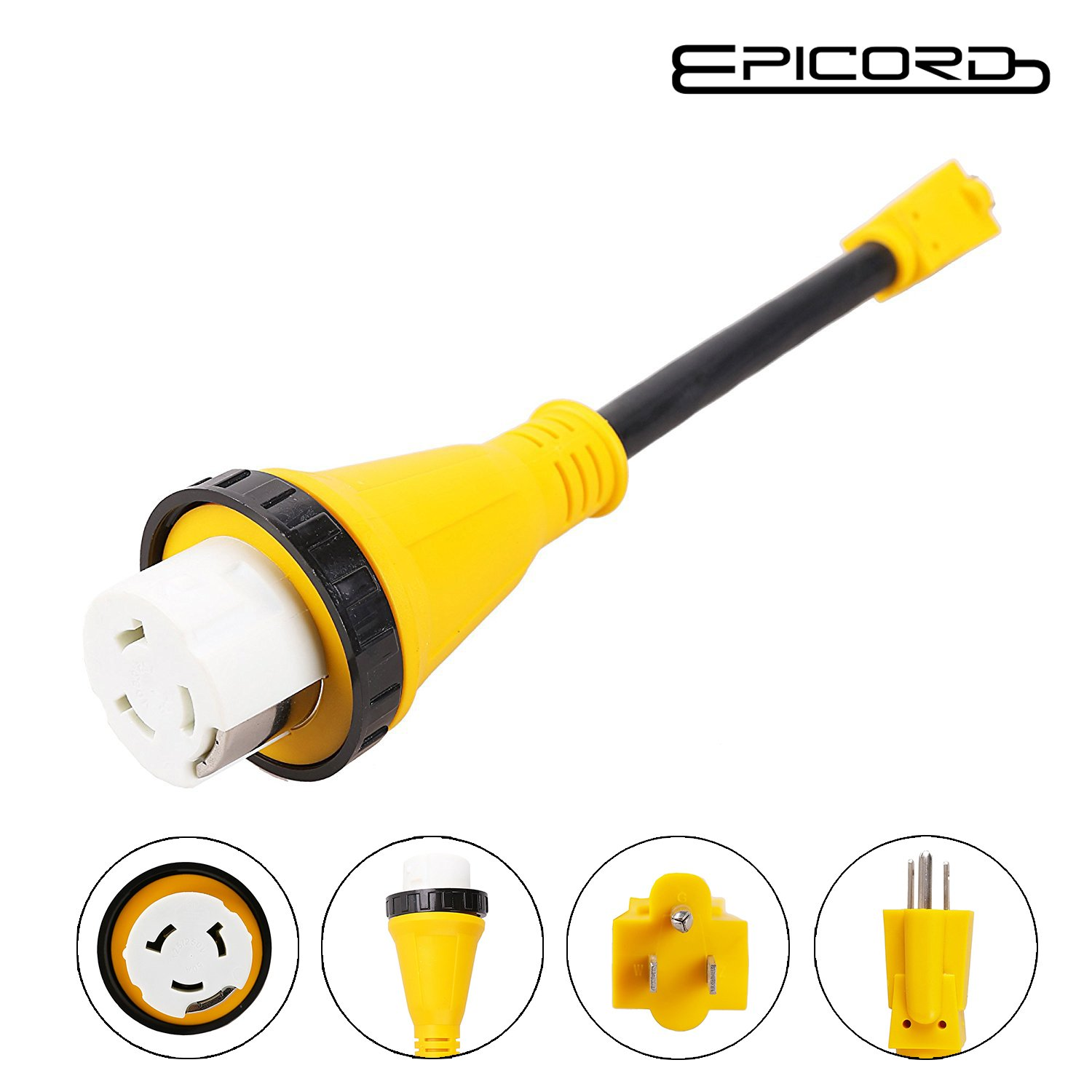 Epicord RV Camper Power Adapter Cords 15amp Male Plug to 50amp Female Adapter RV Dogbone Electrical Adapter,12 inch 10/3 AWG