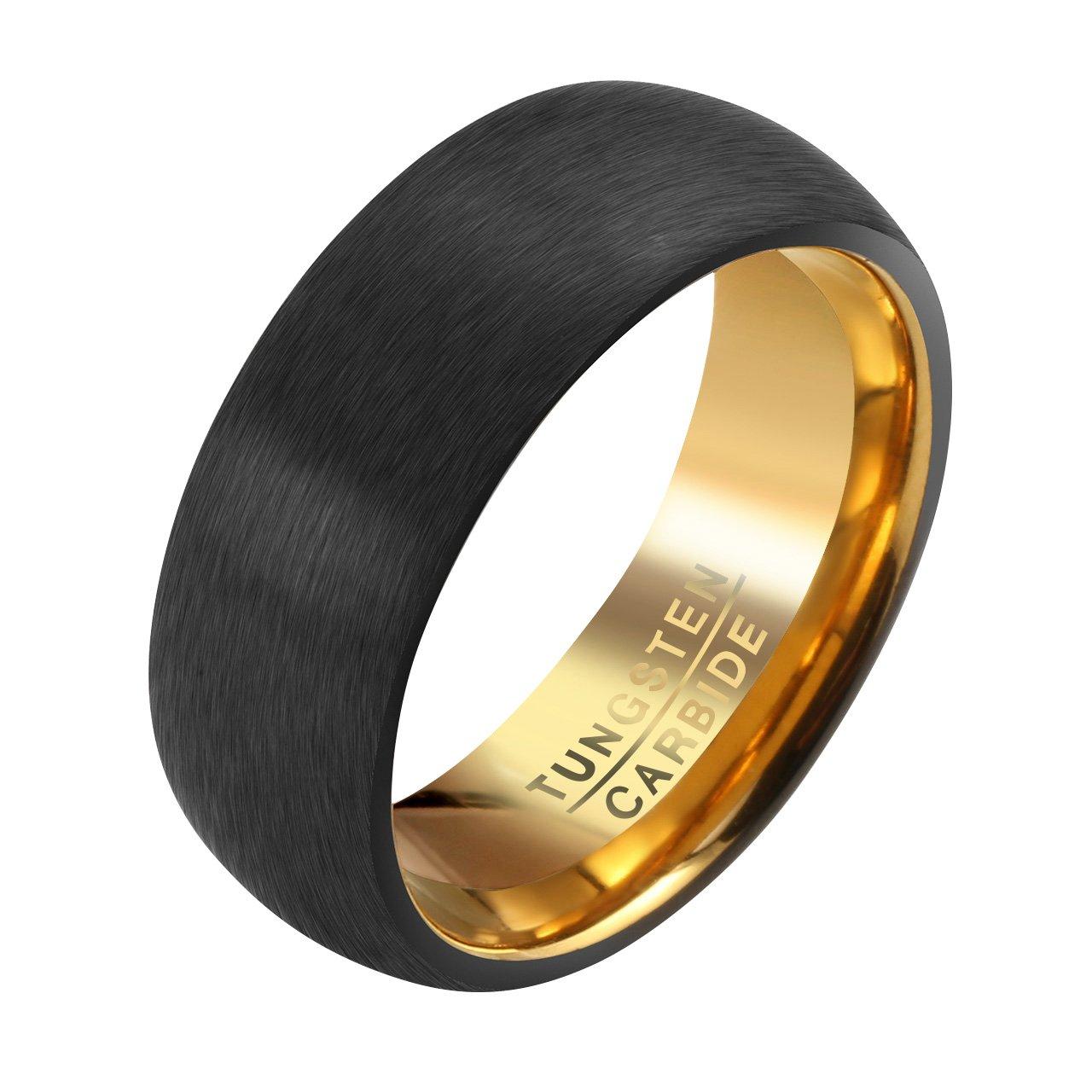 2293de85d01c Jovivi Custom Band Ring - Personalised Mens Tungsten Carbide Wedding Band  Black Golden 8mm Comfort Fit Brushed Matte Finish Rings Size V 1 2   Amazon.co.uk  ...
