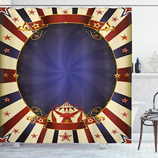 Carnival Circus Tent Shower Curtain Liner Bathroom Mat Polyester Fabric Hooks