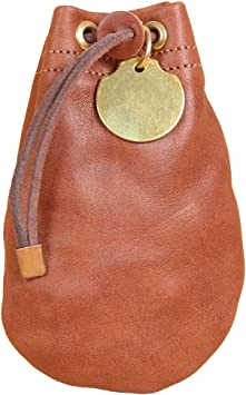 Drawstring Pouch Soft Full Grain Black Leather Money Bag Size Medium USA Made