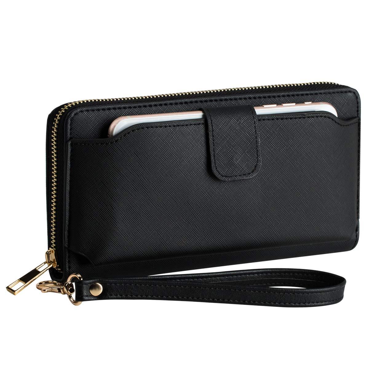 Women Wristlet Wallet with Cell Phone Holder Zip Around Wallet PU