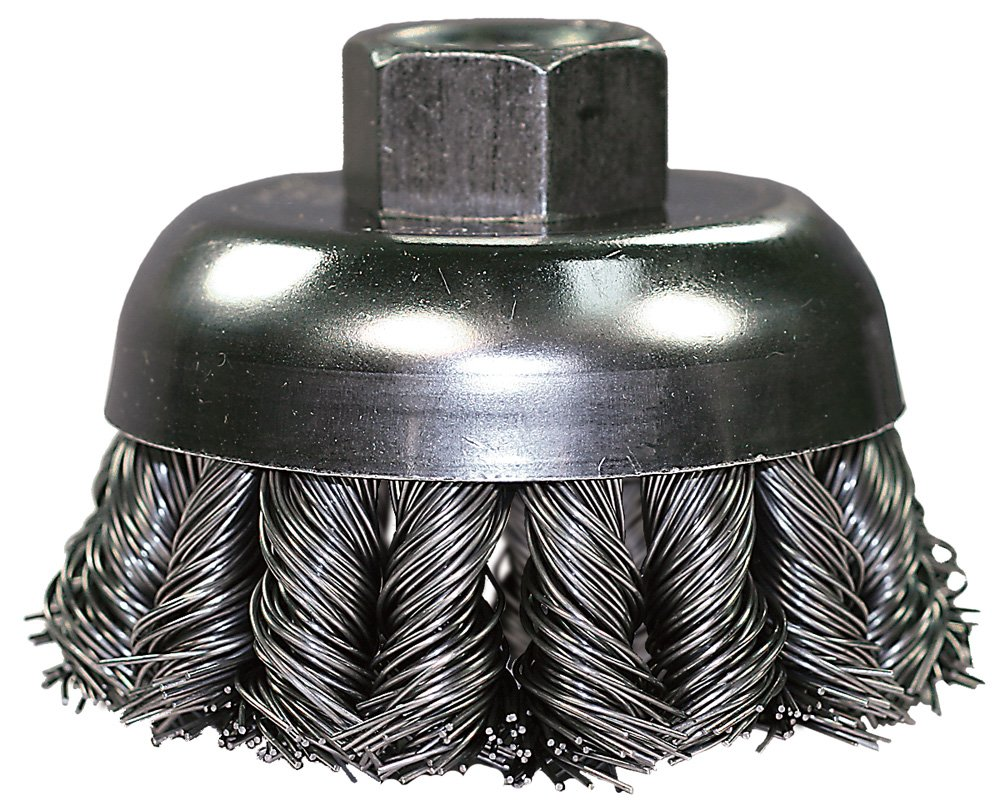 PFERD 82751 Combitwist Power Knot Wire Cup Brush with External Nut, Threaded Hole, Carbon Steel Bristles, 2-3/4 Diameter, 0.020'' Wire Size, 5/8-11 Thread, 14000 Maximum RPM, 18 Knots