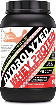 Amazing Muscle Ultra Pure Hydrolyzed Whey Protein Isolate * Supports Lean Muscle Growth & Rapid Recovery (Strawberry)