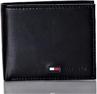 محفظة ثنائية الطي مع جزء للعملات المعدنية للرجال من تومي هيلفيجر، أسود