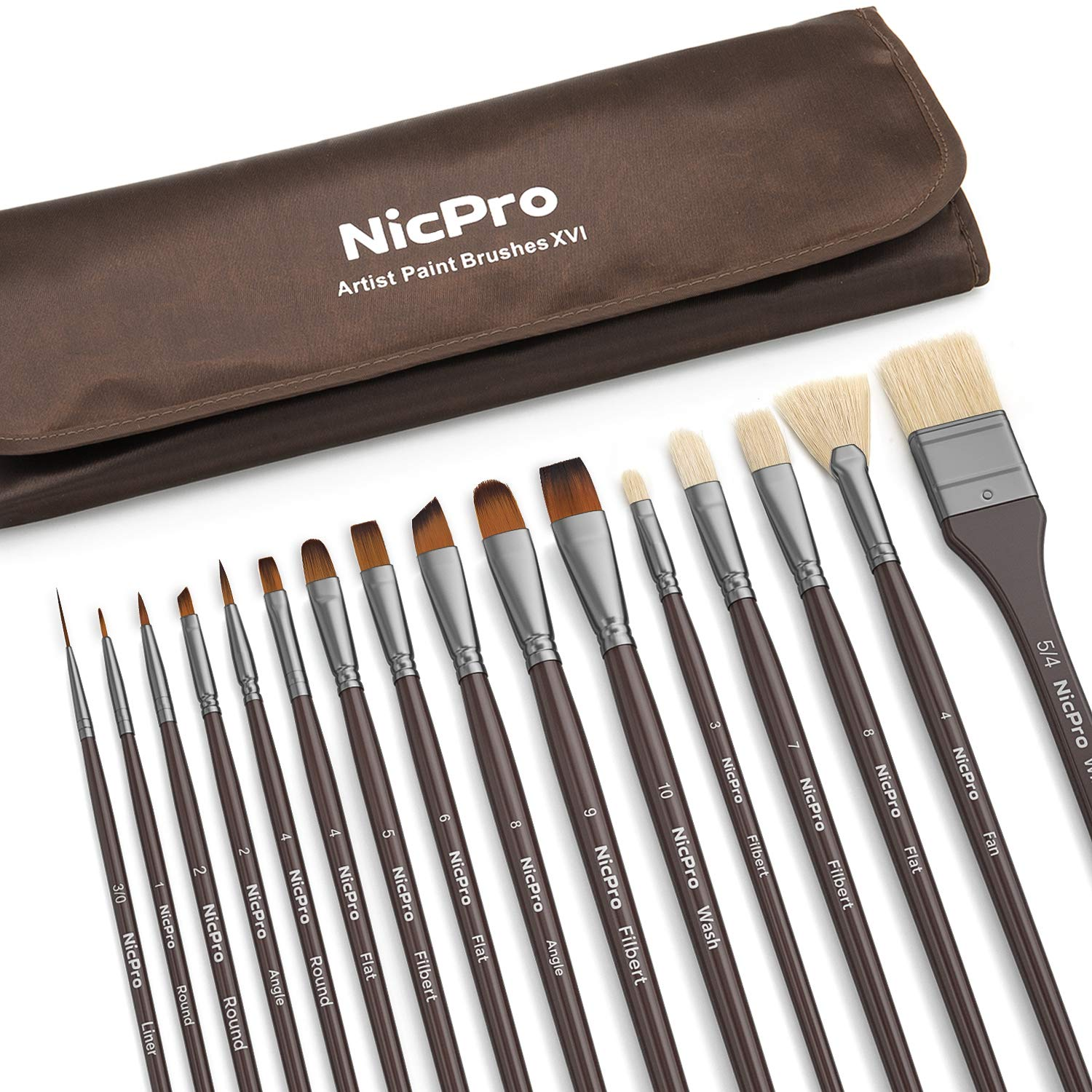 Nicpro 10 PCS Paint Brush Set Round Pointed Tip Artist Painting Brushes for Watercolor Acrylic Oil, Art Paintbrush