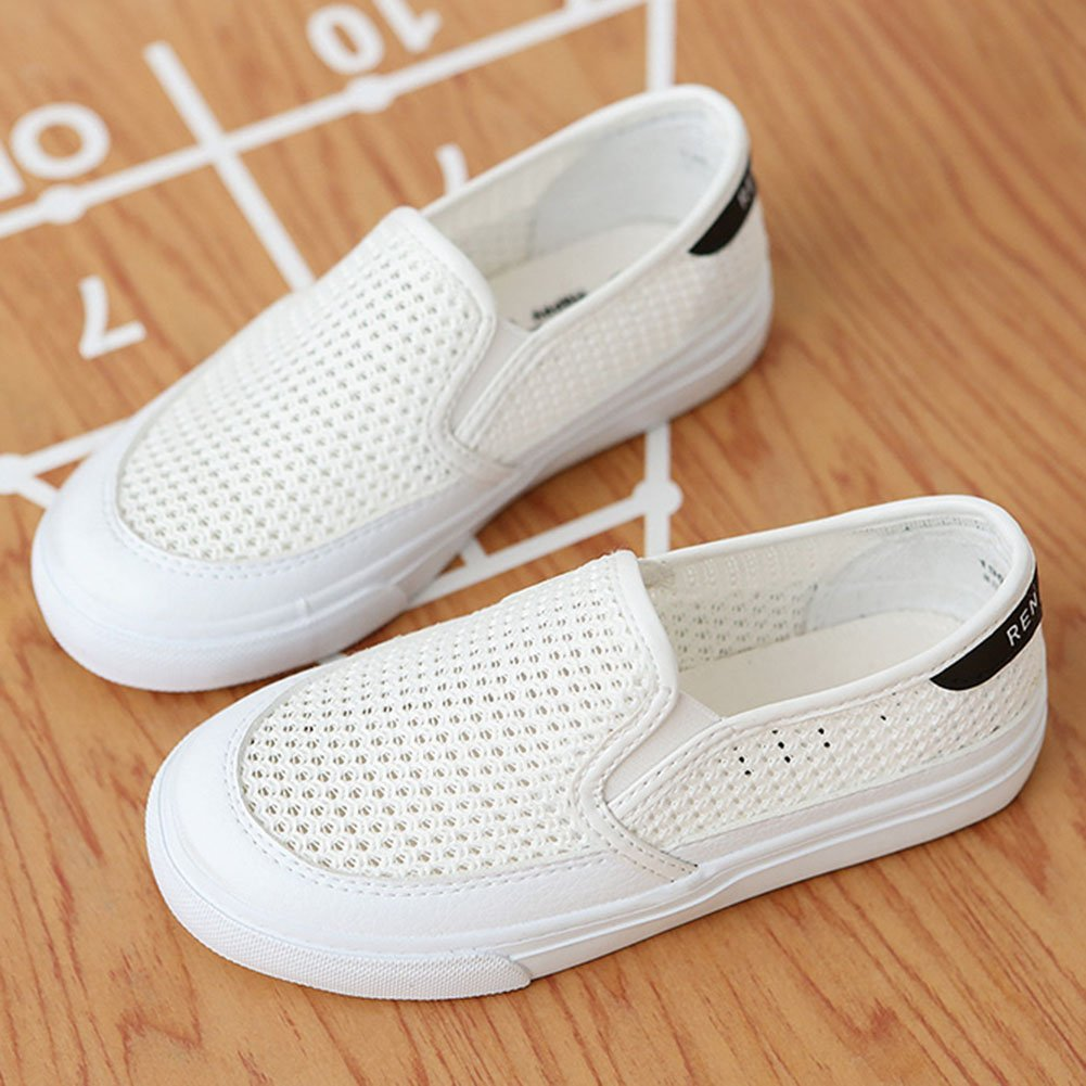 Slip On Thick Sole School Loafers Shoes Low Top Hollow Out SFNLD InStar Kids Breathable Round Toe Sneakers