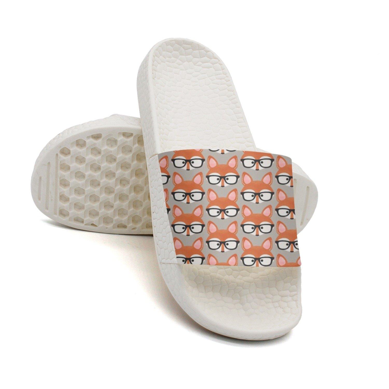 HSJDAPOCOAQ Funny Foxes Wear Glasses Summer Slides For Women