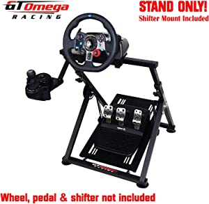 GT Omega APEX Racing Wheel Stand for Logitech Fanatec Clubsport Thrustmaster Gaming Steering Wheel Pedal & Shifter Mount, TX T500 T300 G29 G920 G923 PS4 Xbox