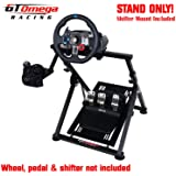 GT Omega APEX Racing Wheel Stand for Logitech Fanatec Clubsport Thrustmaster Gaming Steering Wheel Pedal & Shifter Mount, TX