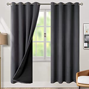 BGment Thermal Insulated 100% Blackout Curtains for Bedroom with Black Liner, Double Layer Full Room Darkening Noise Reducing Grommet Curtain ( 52 x 84 Inch, Dark Grey, 2 Panels )