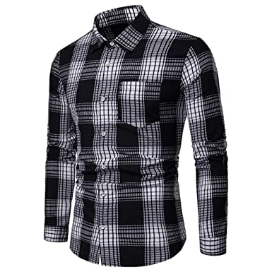 6374c632 Sunmoot 2019 Newest Casual Plaid Dress Shirts for Men Long Sleeve Button  Down Top Blouse with