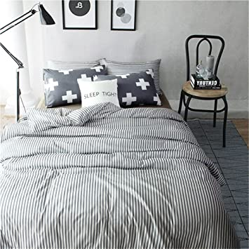 Cross Striped Luxury Duvet Cover with Pillowcase Bedding Set Grey Soft All Sizes