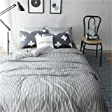VM VOUGEMARKET 100% Cotton Duvet Cover Set King - Hotel Quality Striped Bedding Set,Pinstripe Duvet Cover with 2 Cross Pilowcases- Luxurious, Comfortable, Breathable, Soft and Durable (King,Colette)