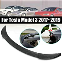 1 Piece - Black Carbon Fiber Pattern CoolKo Custom Fit Rear Window Spoiler Retaining Tail Lip Wing Trim Compatible with Model 3
