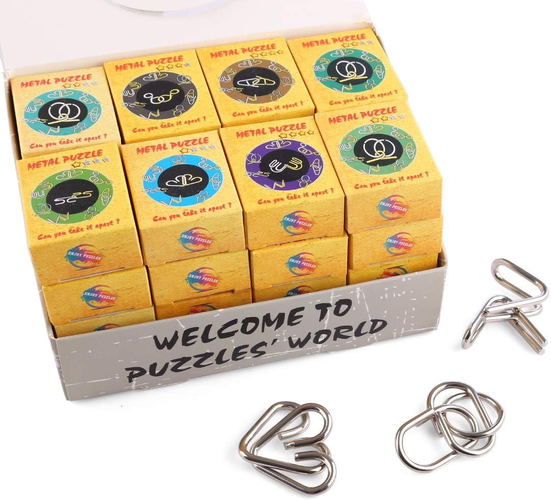 LOSGO Rompecabezas Metal 32 Piezas Puzzles Metálicos, Disfrutar del Juego Mental, Cualquier Edad