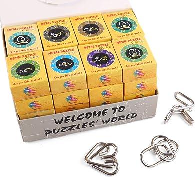 BOROK Rompecabezas Metal, 32Pack 3D Puzzles Adultos Juegos de Ingenio Juegos de Mesa Juego IQ Juguete Educativos Habilidad Juego Logica Calendario de Adviento Niños: Amazon.es: Juguetes y juegos