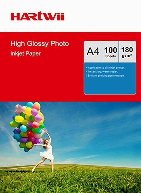 Hartwii  120 Sheets A4 260Gsm High Glossy Photo Paper Inkjet Paper Print Inkjet