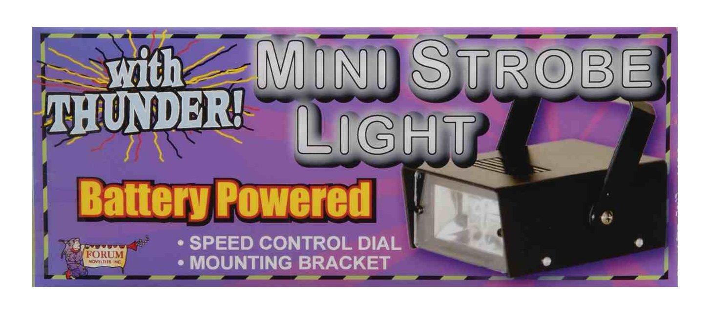 Forum Novelties Battery Powered LED Mini Strobe Light with Thunder Sounds, Black 62392
