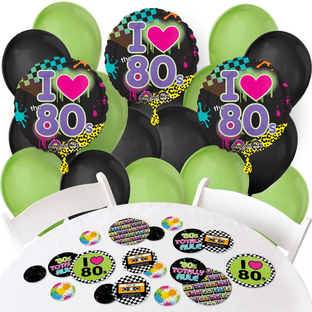 Big Dot of Happiness 80's Retro - Confetti and Balloon Totally 1980s Party Decorations - Combo Kit by Big Dot of Happiness