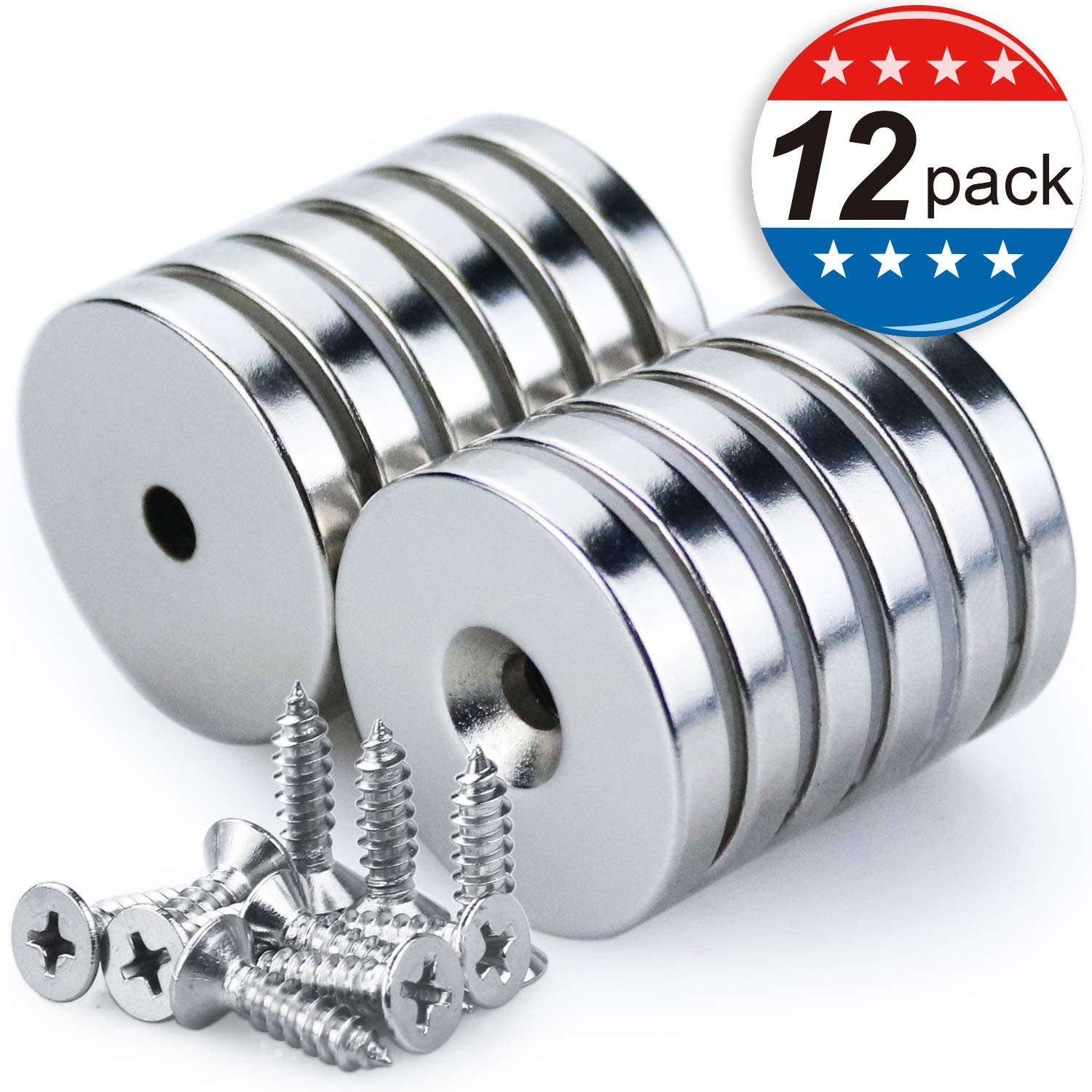 12Pack 1.26''D x 0.2''H Neodymium Disc Countersunk Hole Magnets. Strong, Permanent, Rare Earth Magnets,with 12 Screws