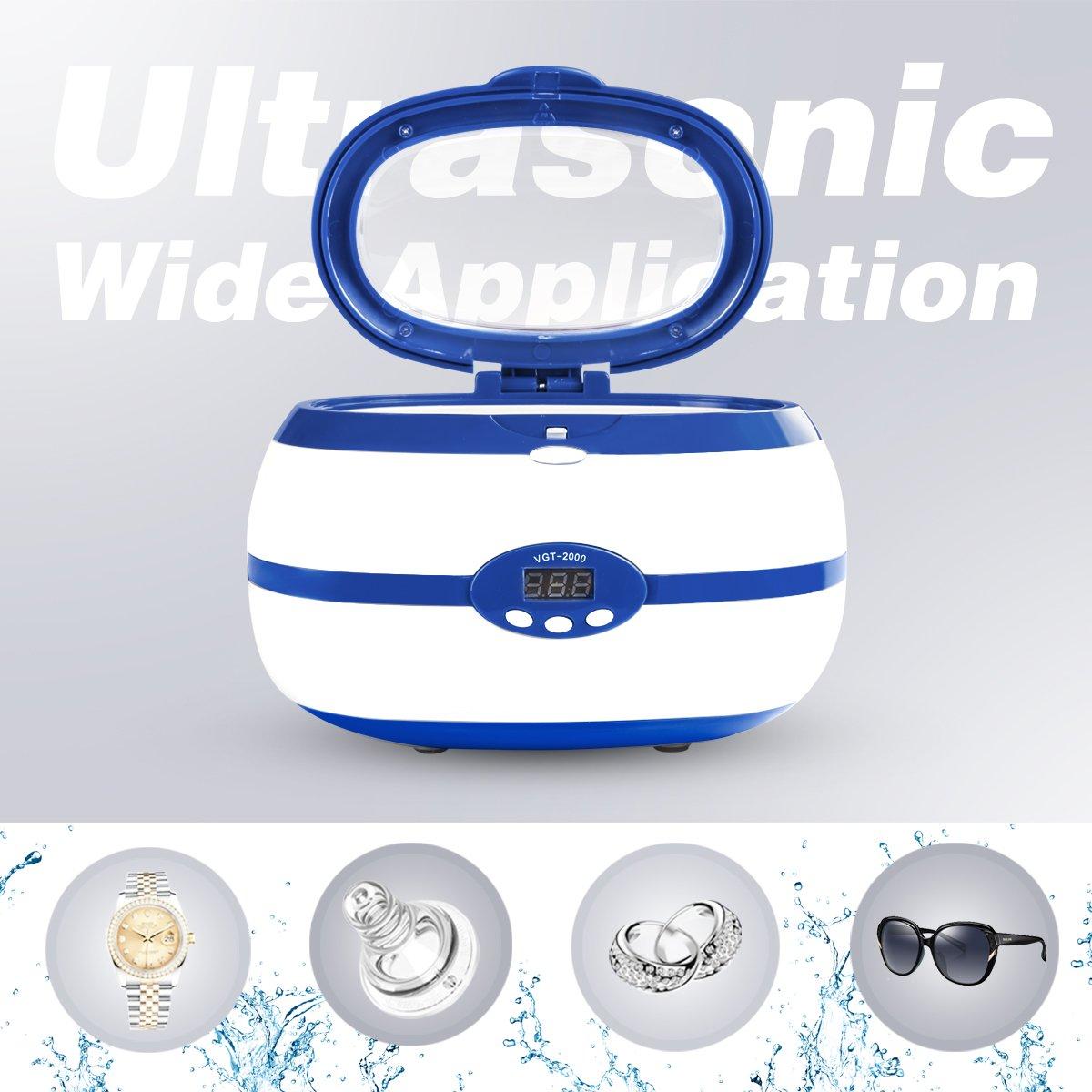 Máquina ultrasónica del limpiador de la joyería con el contador de tiempo digital, máquina ultrasónica portátil de la limpieza del hogar 600ml (enchufe de ...