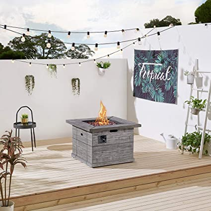 Amazon com: Ove Decors Patterson Propane Fire Table, Wood