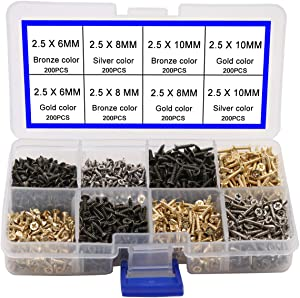newlng 2.5MM Small Screws for Wood Flat Head Self Tapping Screw Wooden Cabinet Door Hinge Fittings, Electronic Accessories Screw Multifunctional DIY Mini Screw Set Gold Black Silver 1600pcs