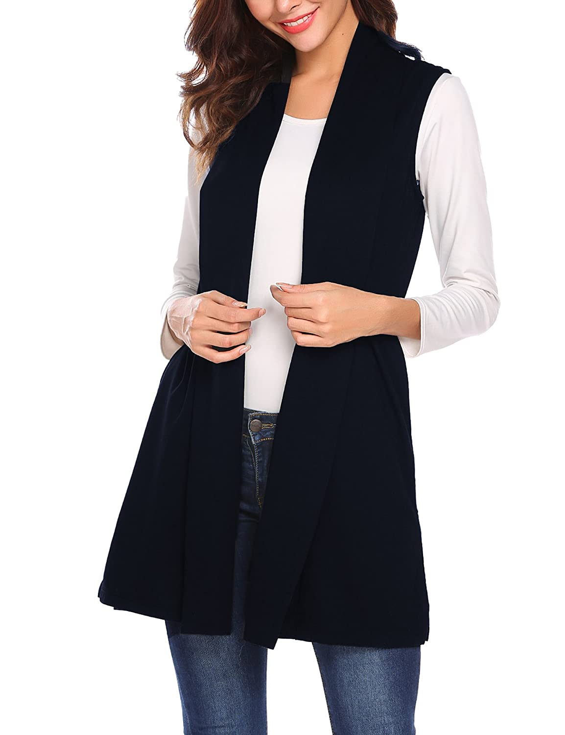 Ladies' Colorful 1920s Sweaters and Cardigans History Beyove Womens Long Vests Sleeveless Draped Lightweight Open Front Cardigan Layering Vest with Side Pockets (S-XXL) $26.99 AT vintagedancer.com