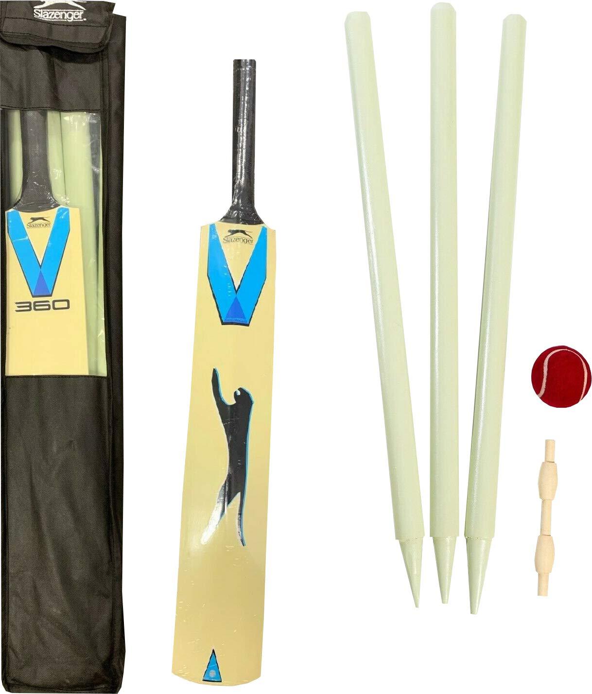 Slazenger Cricket Starter Bat Ball Stumps Set Size 5 6 Harrow Outdoor Garden Play