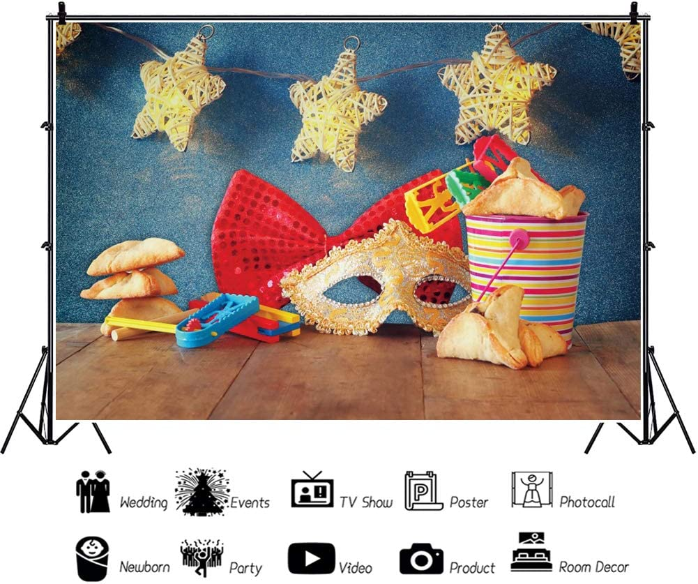 YongFoto 12x8ft Purim Carnival Photography Background Judaism Carnival Celebration Luxury Gold Mask Hamantaschen Cookies Red Bow Tie Festival Star Lights Wood Floor Happy Purim Backdrop Photo Props