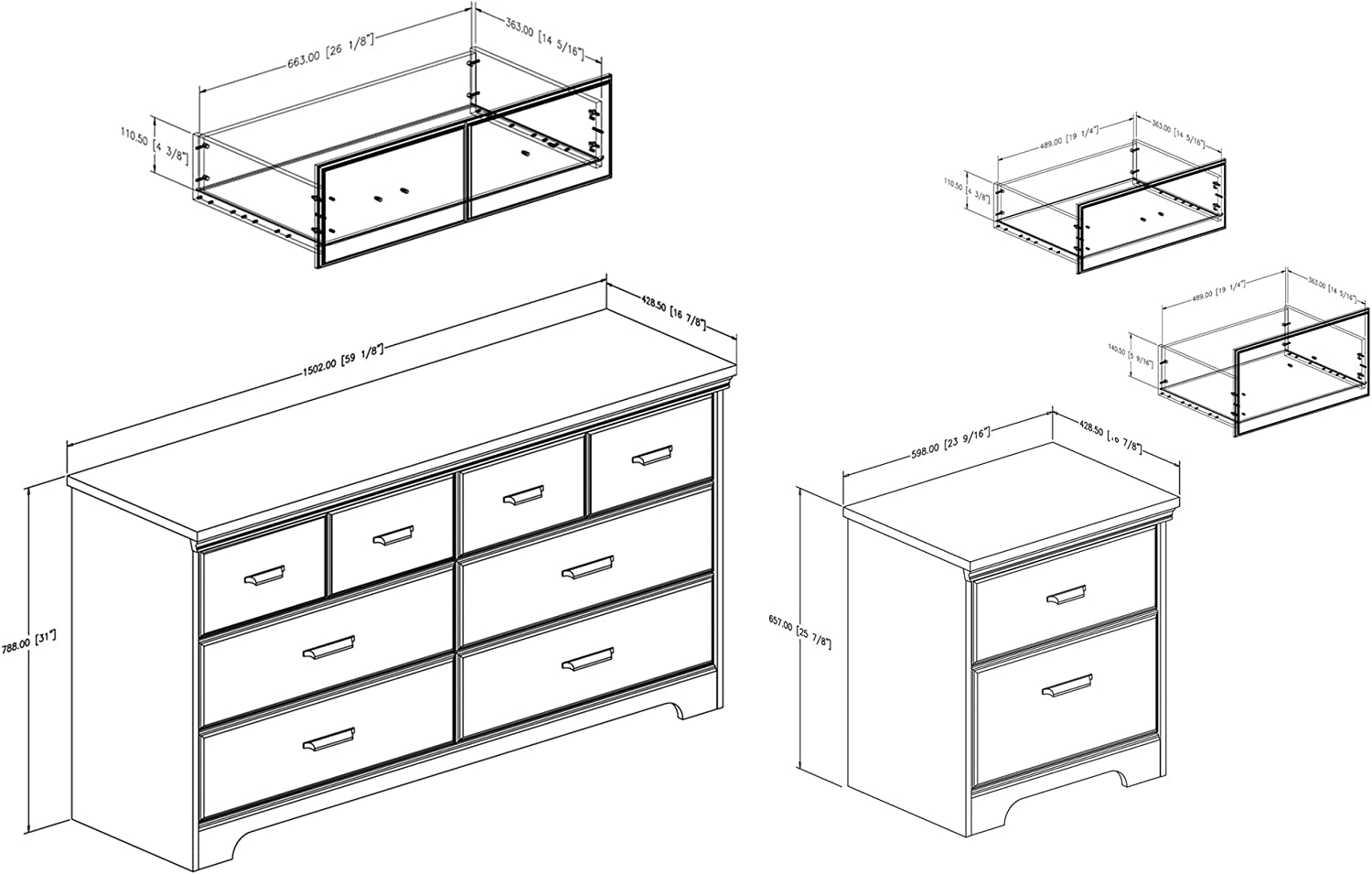South Shore Versa 6-Drawer Double Dresser and 2-Drawer Nightstand Weathered Oak