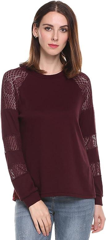 Meaneor Mujeres Camiseta Manga Larga de Casual Encaje Floral Camisa Ajustado O-Cuello Rojo Vino: Amazon.es: Ropa y accesorios