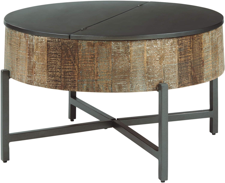 Amazon Com Signature Design By Ashley Nashbryn Boho Round Cocktail Table W Storage Black Wood Furniture Decor