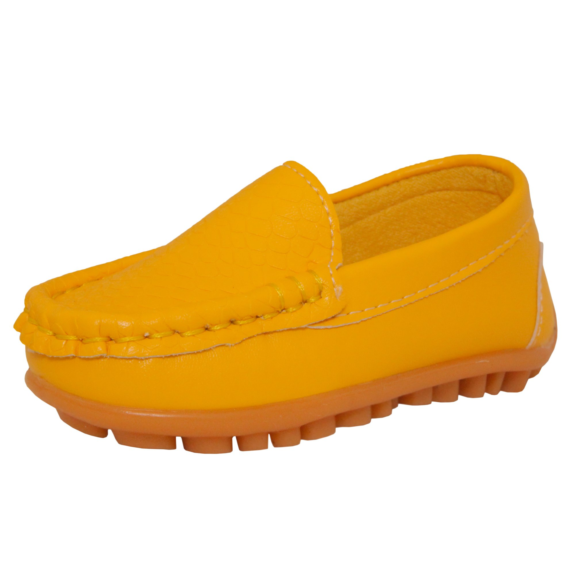 CONDA Kids Boys & Girls Yellow Loafers Water Resistent Slip On Split Leather Boys & Girls Oxfords - Deck Shoes/Sneakers Size 7 M US Toddler