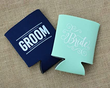 Amazon.com: Bride and Groom Can Cooler Wedding Gift Idea Bride and ...