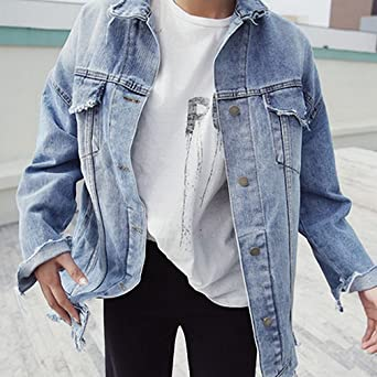 Women Print Letter Basic Denim Jacket Coats NEW Vintage Ripped Jeans Jacket Bf Style Chaquetas Mujer Casual Jaqueta Feminina blue One Size at Amazon Womens ...