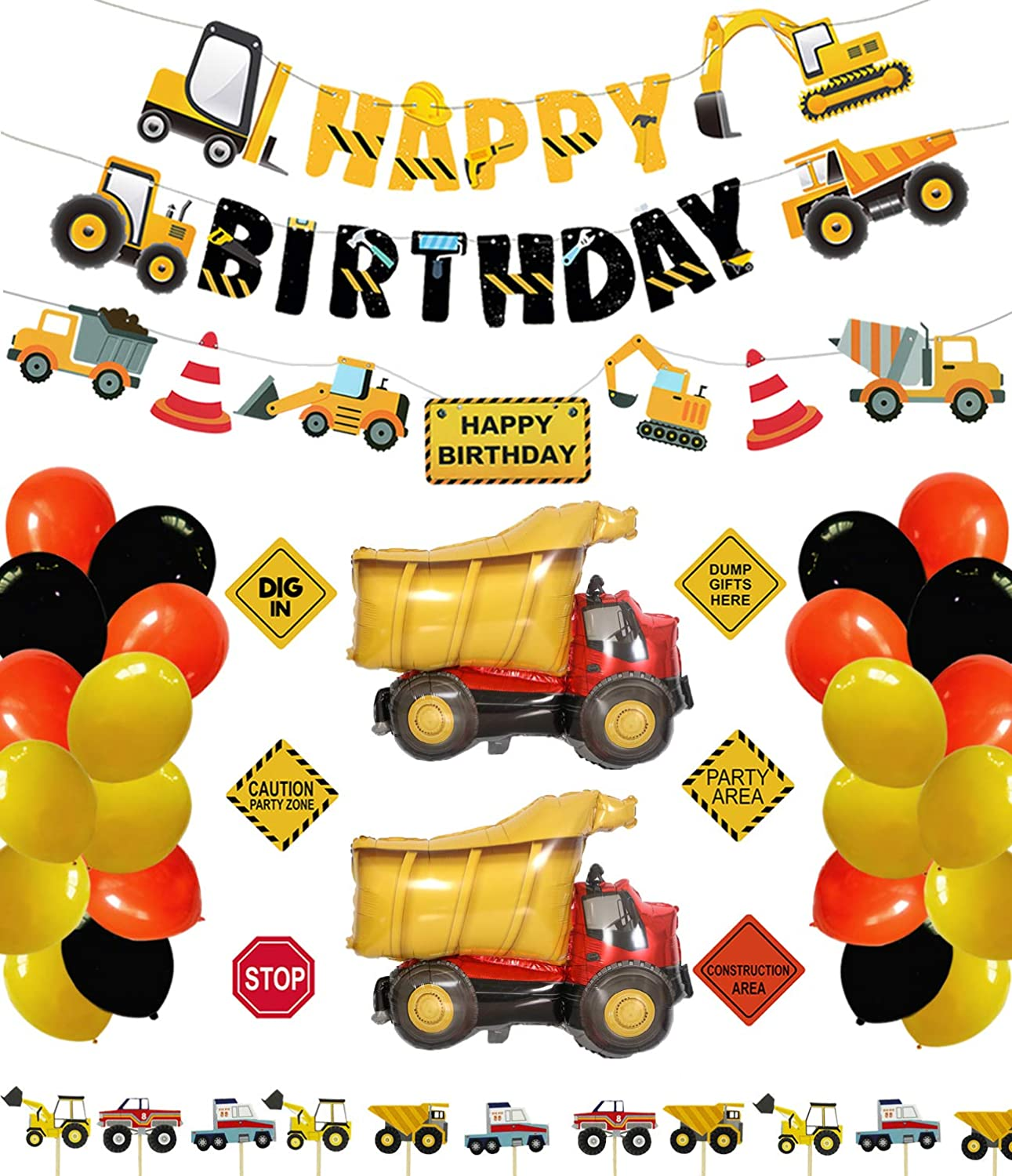 Construction Birthday Party Supplies Dump Truck Party Decorations Kits Set with 2 foil balloons for Kids Birthday Party 52 pack
