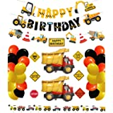 Construction Birthday Party Supplies Dump Truck Party Decorations Kits Set with 2 foil balloons for Kids Birthday Party 52 pa