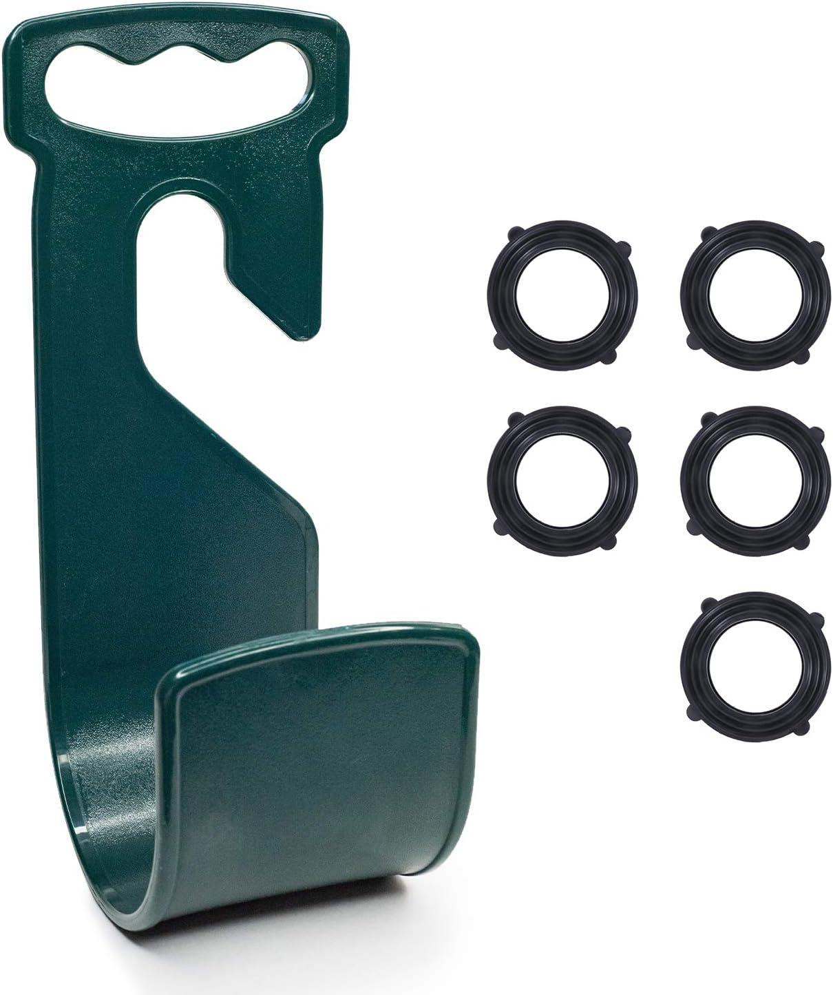Jork Products Garden Hose Hanger, Plastic, Dark Green, Includes 5 Garden Hose Washers