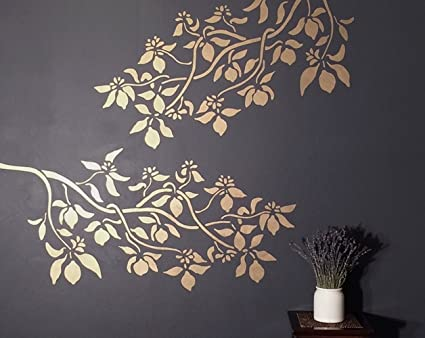 Tree Branch Wall Stencil Lemon Branch Large Reusable Diy Wall Art Decor Try It In Gold Metallic Paint More Fun That Vinyl Wall Decals And