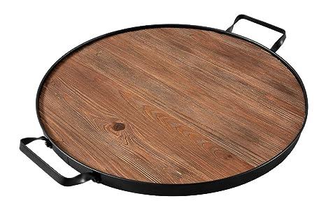 Incredible Thirteen Chefs Farmhouse Wine Barrel Top Serving Tray Round Wood Platter With Iron Handles Machost Co Dining Chair Design Ideas Machostcouk