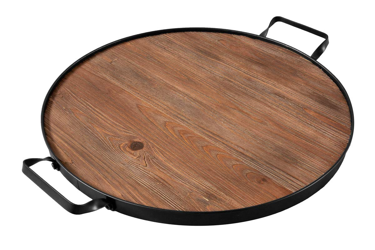 Thirteen Chefs Wine Barrel Top Serving Tray, Round Wood Platter with Iron Handles
