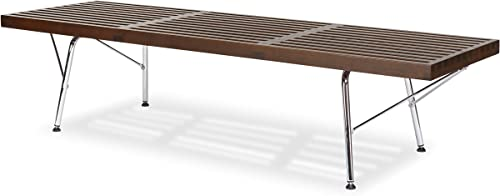 POLY BARK Slat 5 Bench with Chrome Legs, Dark Walnut