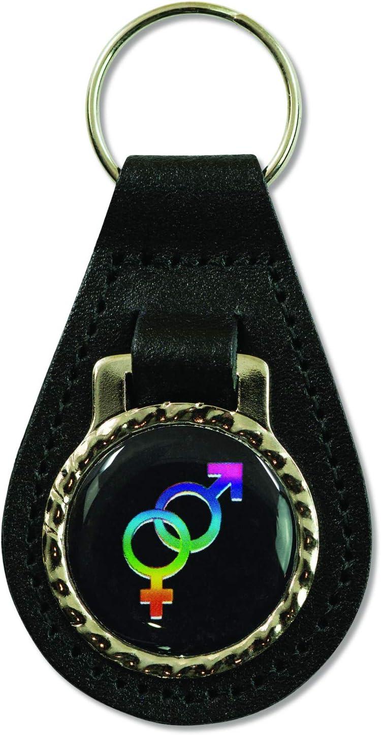 3 Tall EvolveFISH Male Female Symbol Black Leather Key Chain Fob