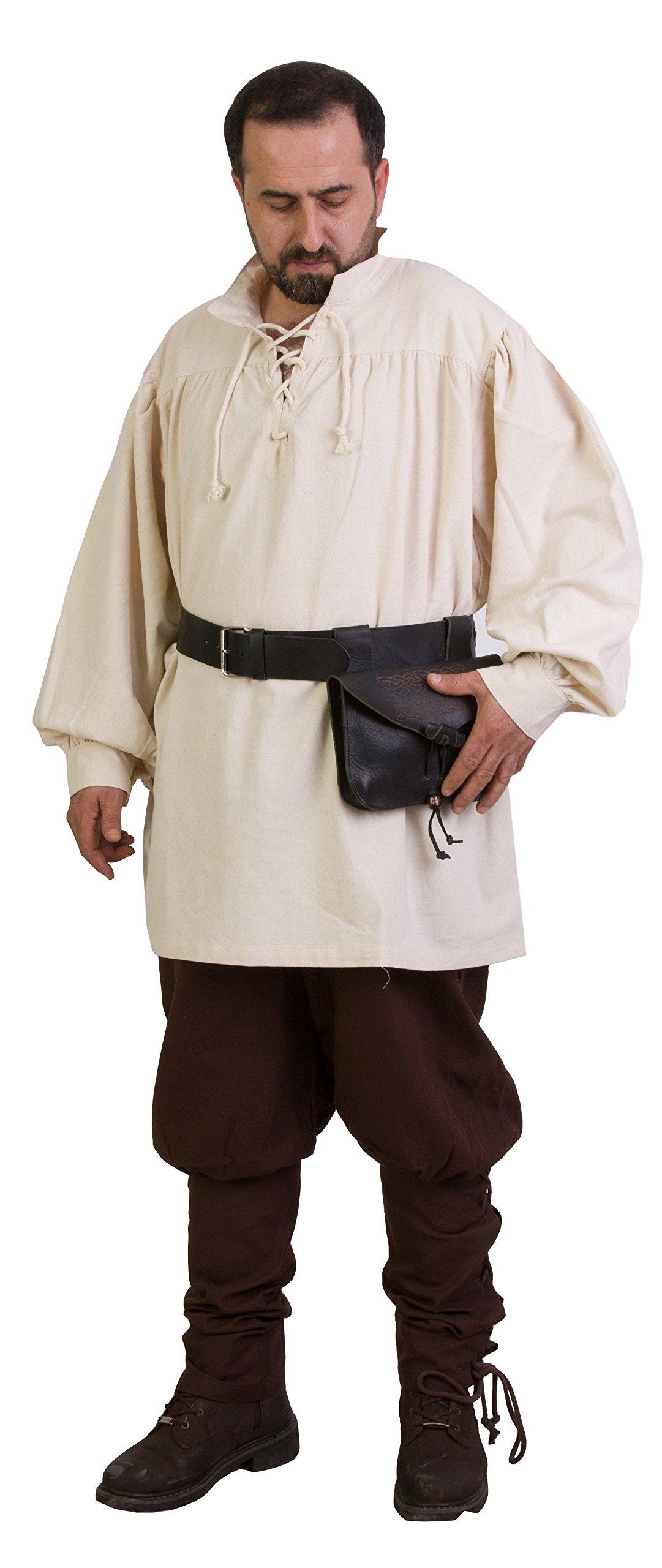 byCalvina - Calvina Costumes ERMES Medieval Viking LARP Pirate Cotton Man Shirt - Made in Turkey-Nat-2XL by byCalvina - Calvina Costumes (Image #4)
