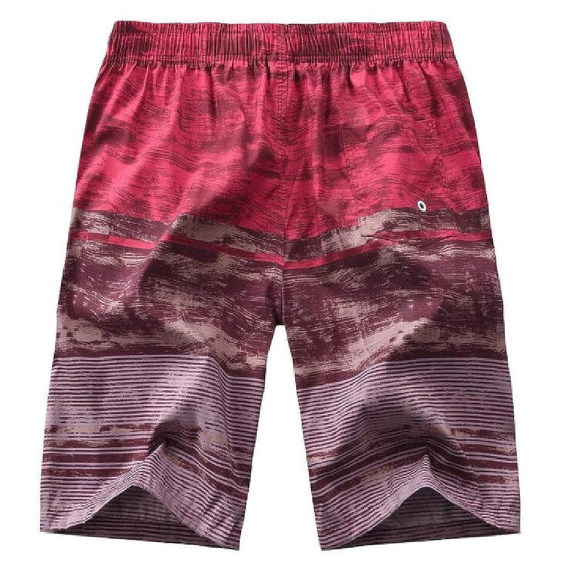 Nanquan Men Beach Elastic Waist Camo Casual Drawstring Printed Striped Shorts