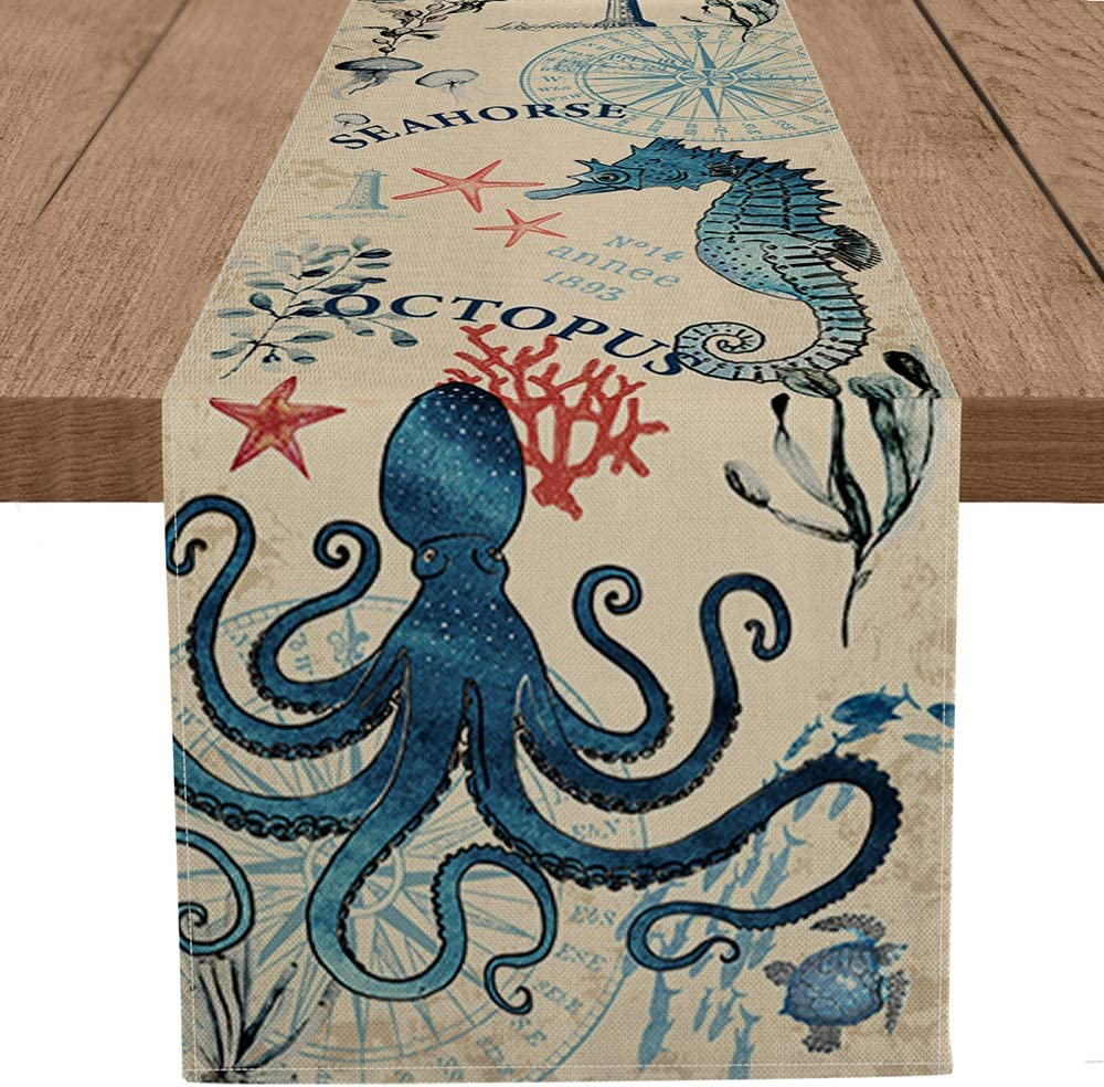 Artoid Mode Watercolor Sea Crab Lobster Seahorse Octopus Table Runner, Seasonal Spring Summer Holiday Kitchen Dining Table Decoration for Home Party Decor 13 x 72 Inch