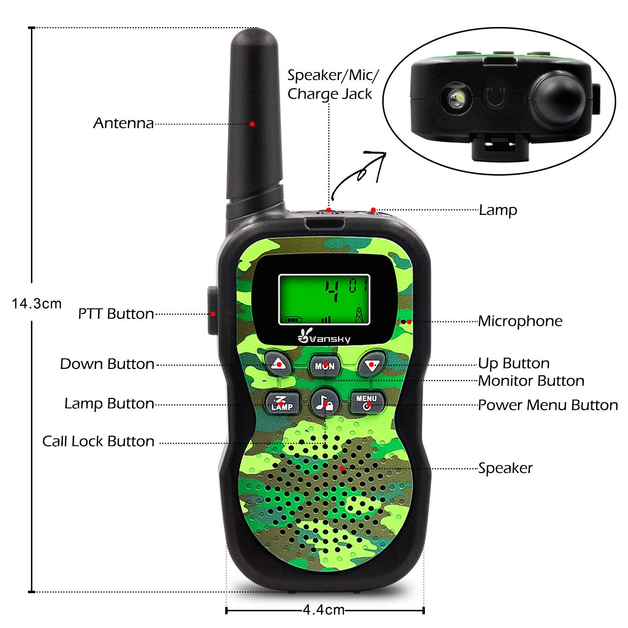 Vansky Walkie Talkies for Kids, Kids Toys 4 5 6 7 8 Age Boy Girl Long Range 22 Channel Built-in Flashlight 2 Way Radio Best Gifts Games, Outdoor Adventure, Camping, Hiking (Camo Green) by Vansky (Image #4)