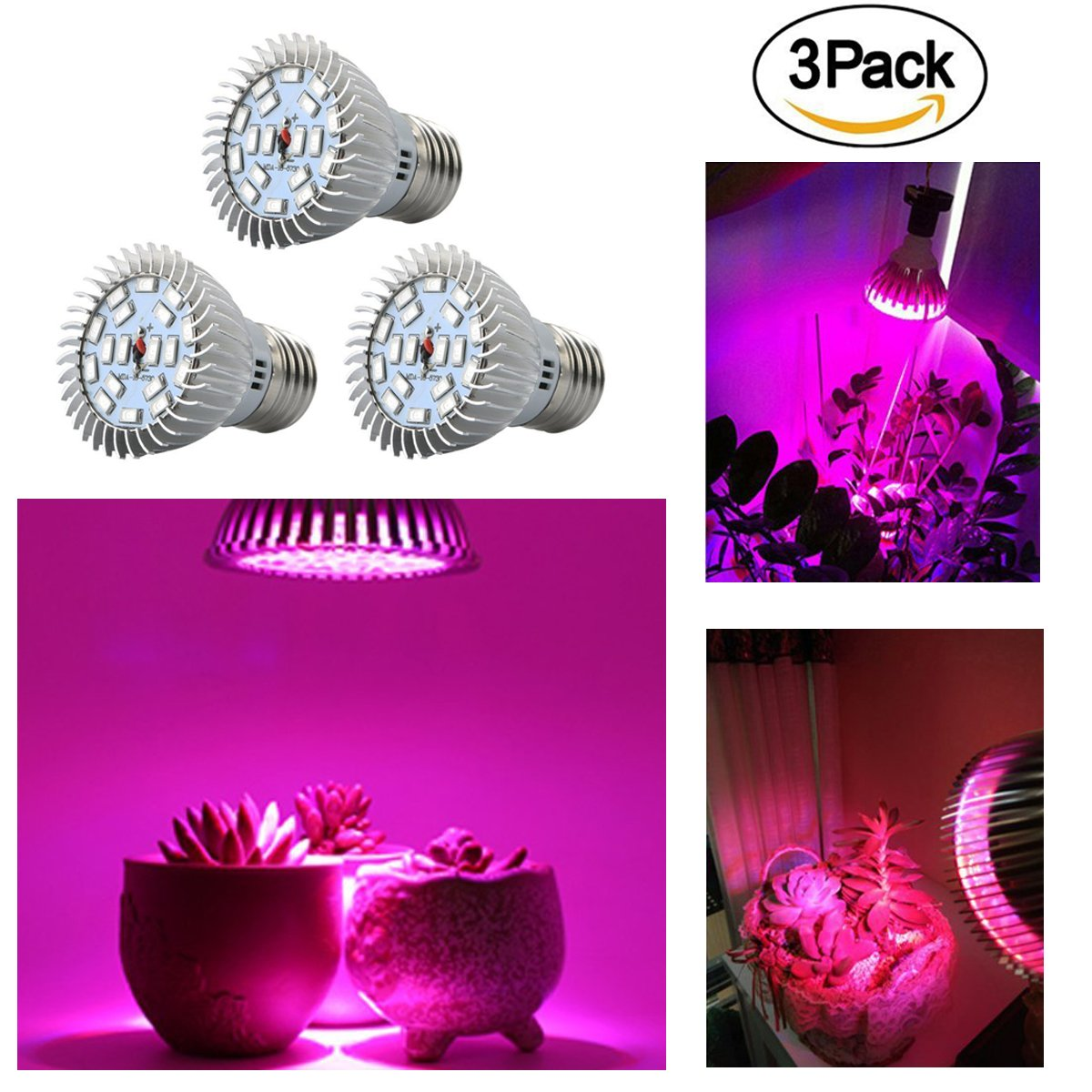 E27 18-LEDs Light Kit of 3 Packs, Enjoydeal LED Grow Lights 8W Full Spectrum Plant Landscape Light for Indoor Outdoor Greenhouse Garden