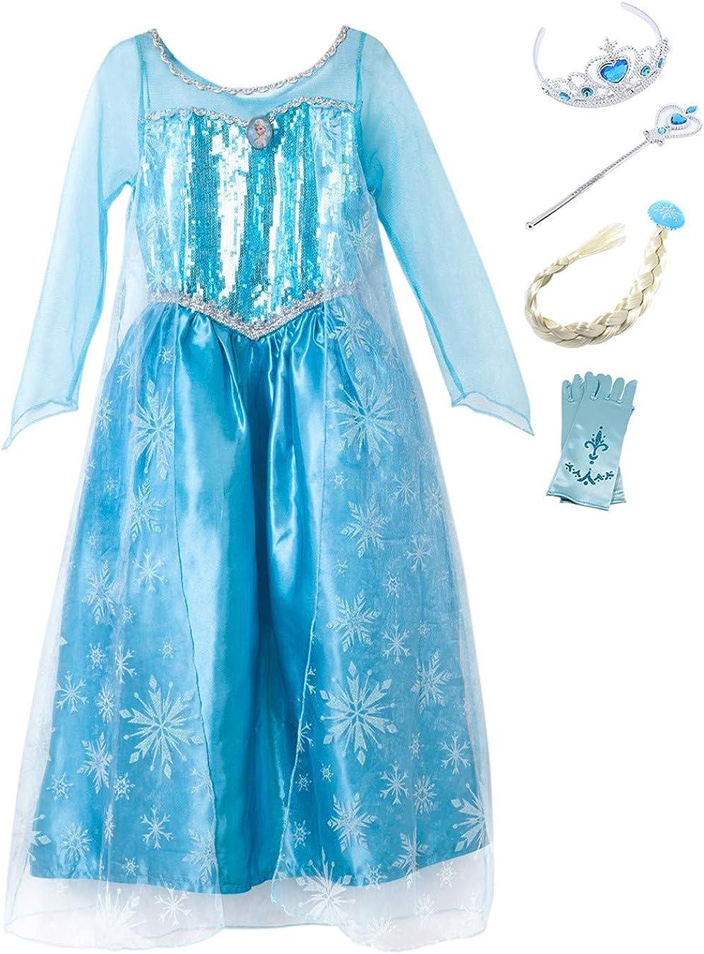 YOSICIL Princesa Disfraz Vestido de Princesa Elsa Princesa Disfraz ...